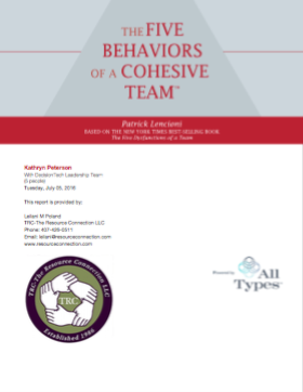 Five Behaviors of a Cohesive Team Report Cover