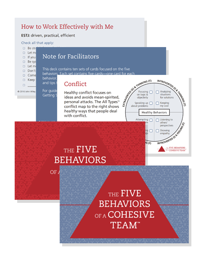 The Five Behaviors of a Cohesive Team Take Away Cards Image